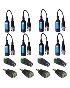 4 Camera Connector Kit HD Baluns (+tail) max 8MP for Hikvision Turbo HD Cameras