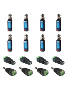 4 Camera Connector Kit  HD Baluns max 8MP for Hikvision Turbo HD Cameras