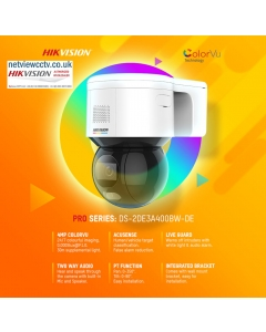 4MP DS-2DE3A400BW-DE(F1)(S5)(B) ColorVu PTZ* IP Camera with Mic & Speaker