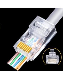 EasyCrimp RJ45 Professional Cat5E Crystal Head Crimps example 2 with cable