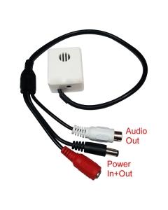 M04AX CCTV Internal Mic Microphone, Adjustable Gain, 30m Range, 80m2 Coverage 12v back