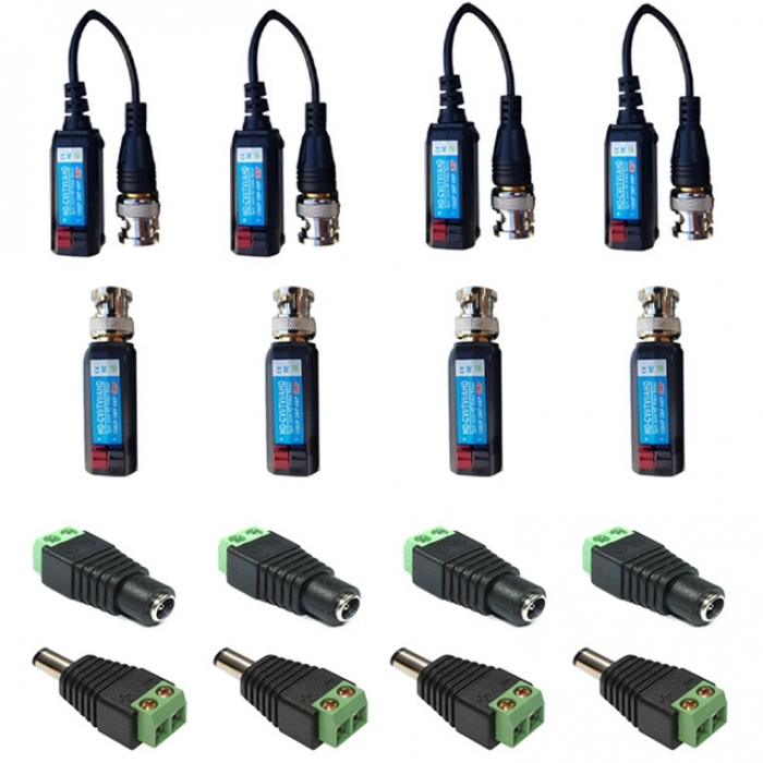 4 Camera Connector Kit HD Baluns (mixed) max 8MP for Hikvision Turbo HD Cameras