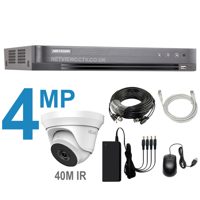 4 Channel DVR Kit with 4MP Cameras with 40m IR