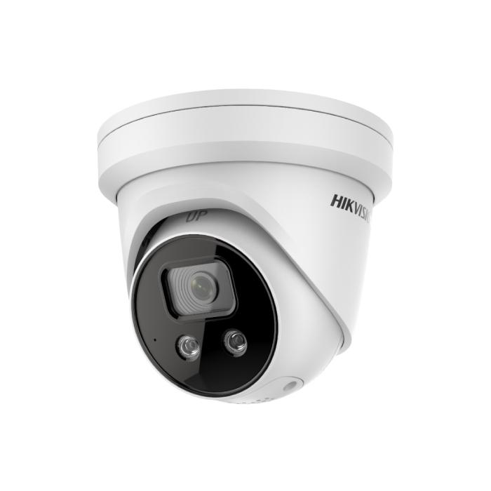 4MP DS-2CD2346G2-ISU/SL Hikvision AcuSense 2.8mm 103° IP Turret Camera with Strobe & 2-Way Audio