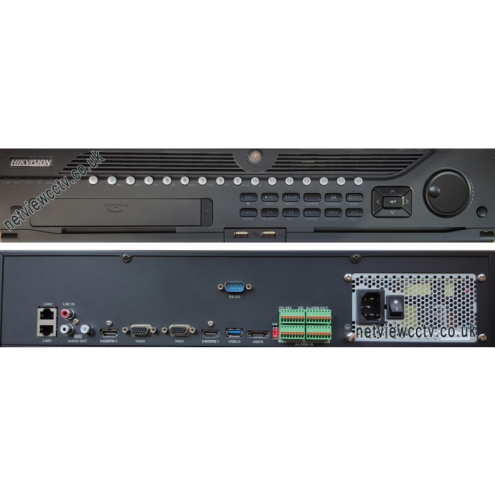 Hikvision, DS-9632NI-I8, 32 Channel, NVR, 4K Front and back view