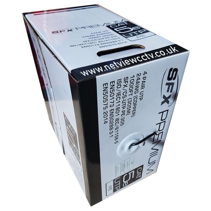 SFX Cat5e Premium UTP Cable Solid Copper PE External Grade Black 305m Box